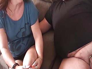 Mature Wife tells cuck how to jack