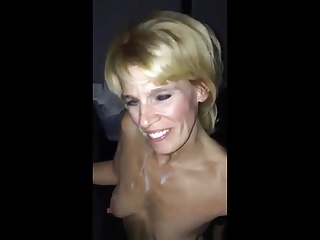 Mature blonde blows through the glory hole pt1