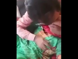 Punjabi duo romantic..spouse fellating ginormous wifey tits