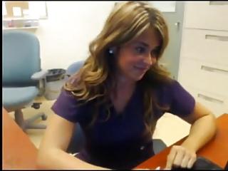 Blonde mature masturbation in her office webcam