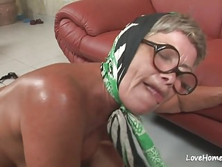 Grey granny is hot together with she loves riding.mp4