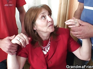 Threesome office fucking with granny