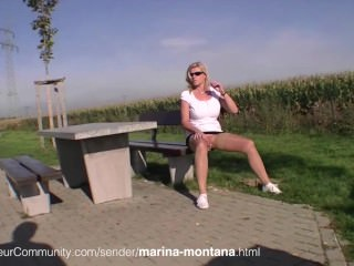 German MILF Marina Montana with pirced pussy pissing in public