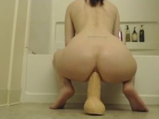 Unbelievable ass-fuck fake penis railing cougar!
