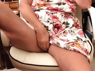 Tugging in brief microskirt on office tabouret