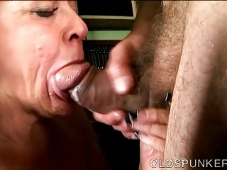Sloppy gives super old an spunker blowjob amazing sexy matchless