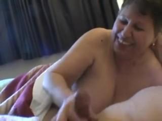 Snug learn of take granny beamy knockers cum handjob