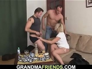Super-fucking-hot 3some hookup with towheaded mature damsel