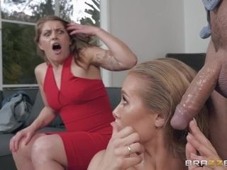Cheater screws a sizzling chesty superslut while his mesmerized wifey sleeps