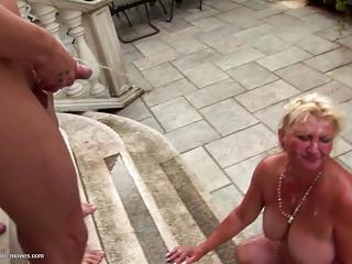 Pissing bukkake gangbang with kinky mother