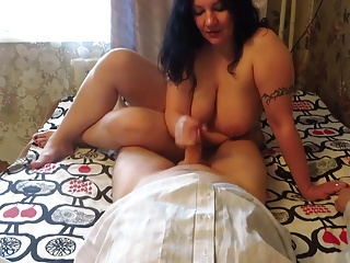 Russian BBW ride on inmate's cock